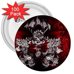 Patterns Bright Background  3  Buttons (100 Pack)