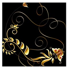 Patterns Butterfly Black Background  Large Satin Scarf (square)