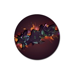 Abstraction Patterns Stripes  Rubber Coaster (round)
