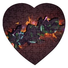 Abstraction Patterns Stripes  Jigsaw Puzzle (heart)