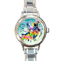 Parrot Abstraction Patterns Round Italian Charm Watch