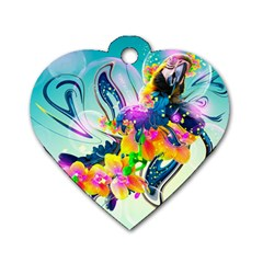 Parrot Abstraction Patterns Dog Tag Heart (two Sides)