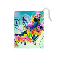 Parrot Abstraction Patterns Drawstring Pouches (medium)