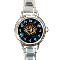 Fractal Flowers Abstract  Round Italian Charm Watch