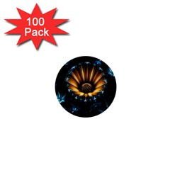 Fractal Flowers Abstract  1  Mini Buttons (100 Pack)