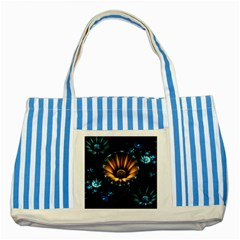 Fractal Flowers Abstract  Striped Blue Tote Bag