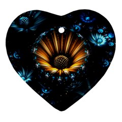 Fractal Flowers Abstract  Heart Ornament (two Sides)