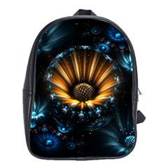 Fractal Flowers Abstract  School Bag (large)