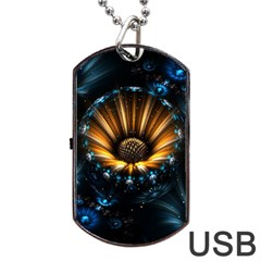 Fractal Flowers Abstract  Dog Tag Usb Flash (one Side)