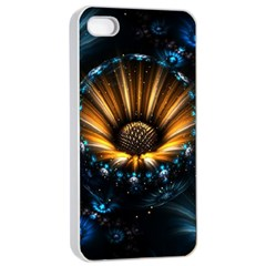 Fractal Flowers Abstract  Apple Iphone 4/4s Seamless Case (white)