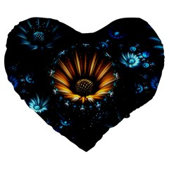 Fractal Flowers Abstract  Large 19  Premium Flano Heart Shape Cushions
