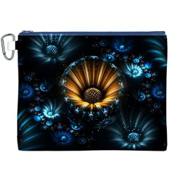 Fractal Flowers Abstract  Canvas Cosmetic Bag (xxxl)