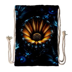 Fractal Flowers Abstract  Drawstring Bag (large)