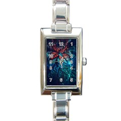 Fractal Flower Shiny  Rectangle Italian Charm Watch
