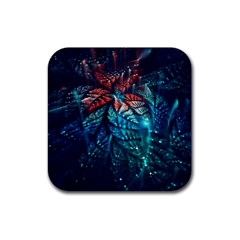 Fractal Flower Shiny  Rubber Square Coaster (4 Pack)