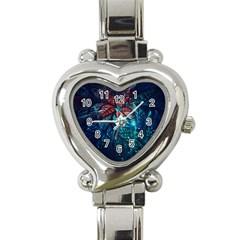 Fractal Flower Shiny  Heart Italian Charm Watch