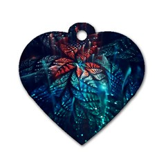 Fractal Flower Shiny  Dog Tag Heart (two Sides)