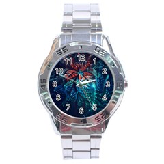 Fractal Flower Shiny  Stainless Steel Analogue Watch