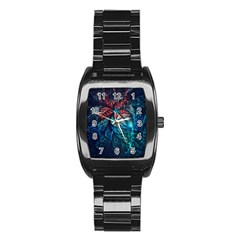 Fractal Flower Shiny  Stainless Steel Barrel Watch