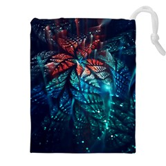 Fractal Flower Shiny  Drawstring Pouches (xxl)