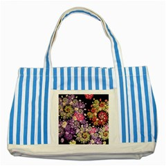 Abstract Patterns Fractal  Striped Blue Tote Bag