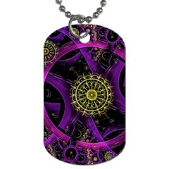 Fractal Neon Rings  Dog Tag (one Side)