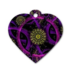 Fractal Neon Rings  Dog Tag Heart (two Sides)