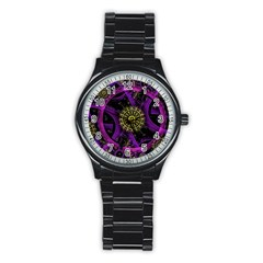 Fractal Neon Rings  Stainless Steel Round Watch