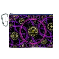 Fractal Neon Rings  Canvas Cosmetic Bag (xl)