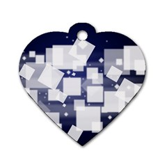 Squares Shapes Many  Dog Tag Heart (one Side)