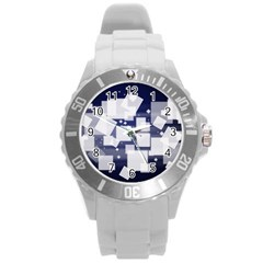 Squares Shapes Many  Round Plastic Sport Watch (l)