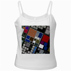 Abstract Composition White Spaghetti Tank