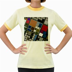 Abstract Composition Women s Fitted Ringer T Shirts