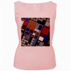 Abstract Composition Women s Pink Tank Top