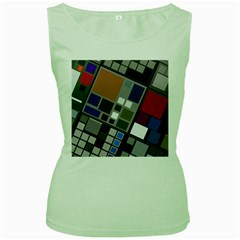 Abstract Composition Women s Green Tank Top