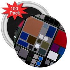 Abstract Composition 3  Magnets (100 Pack)