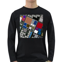 Abstract Composition Long Sleeve Dark T Shirts