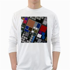 Abstract Composition White Long Sleeve T Shirts