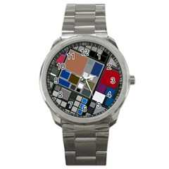 Abstract Composition Sport Metal Watch
