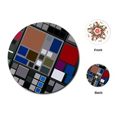 Abstract Composition Playing Cards (round)