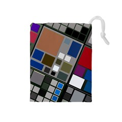 Abstract Composition Drawstring Pouches (medium)