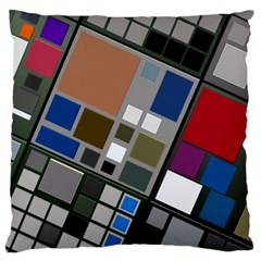 Abstract Composition Large Flano Cushion Case (one Side)