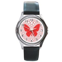 Butterfly Round Metal Watch