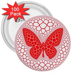 Butterfly 3  Buttons (100 Pack)