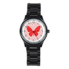 Butterfly Stainless Steel Round Watch