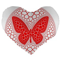 Butterfly Large 19  Premium Flano Heart Shape Cushions