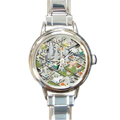 Simple Map Of The City Round Italian Charm Watch