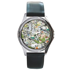 Simple Map Of The City Round Metal Watch