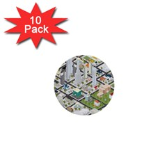Simple Map Of The City 1  Mini Buttons (10 Pack)