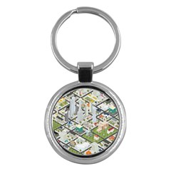 Simple Map Of The City Key Chains (round)